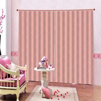 pink curtains Customized size Luxury Blackout 3D Window Curtains For Living Room Decoration curtains