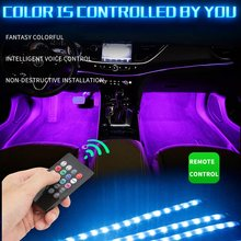 led car foot lamp Ambient light RGB usb app wireless remote music control Automotive interior decorative neon atmosphere lights()