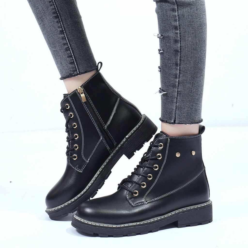 SAGACE moda kadın botları kızlar kış sıcak katı kalın fermuar ayak bileği kısa çizmeler kadın ayakkabısı yarım çizmeler kadınlar için Platform