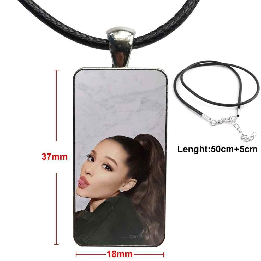 Kaca Cabochon Liontin Kalung Persegi Panjang Kalung Fashion Untuk Wanita Pesta Hadiah Fashion Kucing Ar Ariana Grande