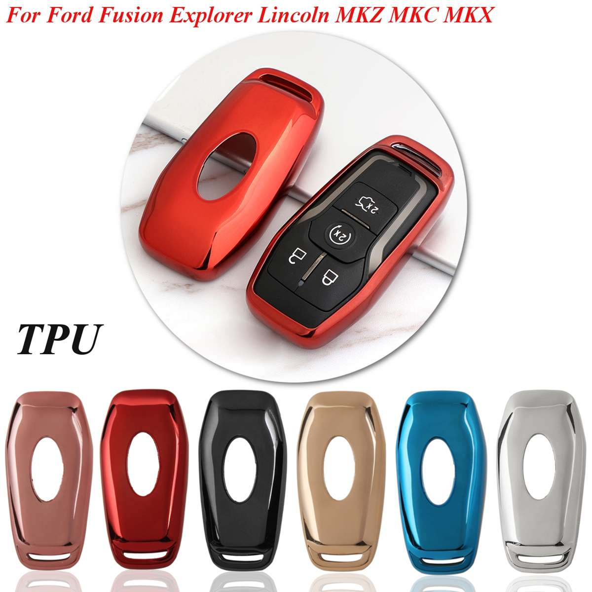 TPU Remote Key Case Cover Shell For Ford Fusion/Mondeo/Mustang F150 Edge Explorer For Lincoln MKZ MKC MKX 2013 - 2018  Styling