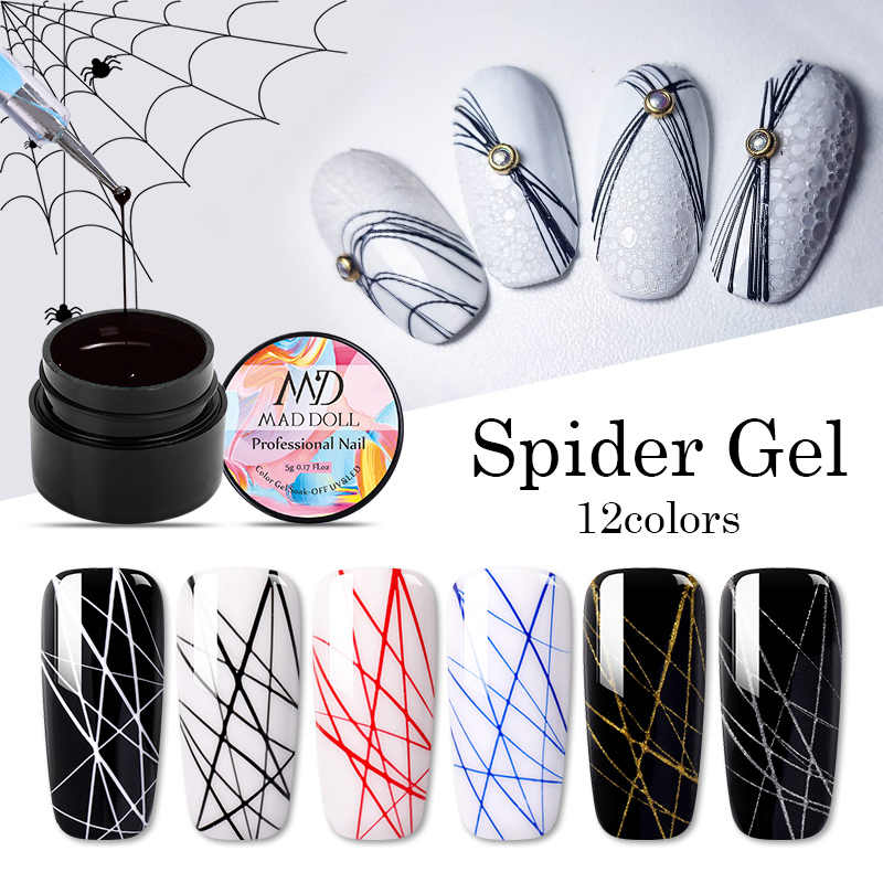 Gila Boneka 1 Box Spider Uv Gel Polandia Elastis Gambar Gel Ungu Kuning Putih Warna Campuran Rendam Off Nail Art gel Varnish