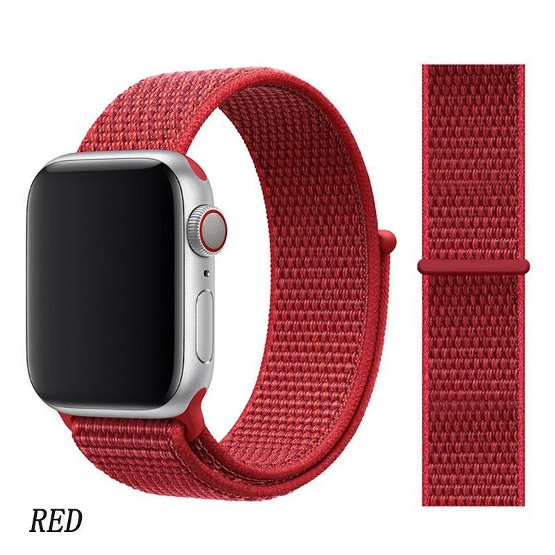 Спортивная петля ремешок apple watch band 42 мм 38 мм apple watch 4 3 band iwatch band 44 мм 40 мм correa pulseira 42 44 нейлоновый ремешок для часов - Цвет ремешка: new red