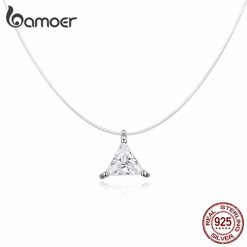 Bamoer 925 Invisível Colar Gargantilha para As Mulheres de Prata Esterlina Waterdrop Triângulo Quadrado Pingente Neckalce Feminino Bijoux SCN332-D