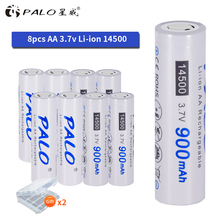 PALO new original super high quality 14500 battery 3.7V Li-ion Rechargeable Battery for flashlight  Headlamps Torch Mouse
