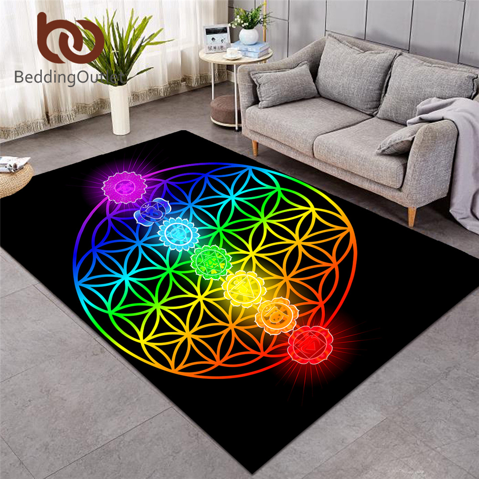 BeddingOutlet Chakra Carpets For Living Room Zen Theme Rectangle Area Rug Colorful Tapis Flower Of Life Geometric Floor Mat Hot