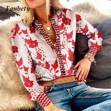 Fanbety Office Lady Notched Collar floral print blouse Shirt