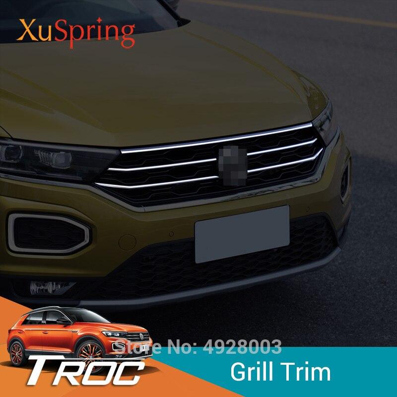 سيارة الجبهة هود الأوسط الخام مصبغة شبكة الأفقي تقليم التصميم ملصقات غطاء 5 قطعة/المجموعة لفولكس واجن VW T-Roc 2017 2018 2019
