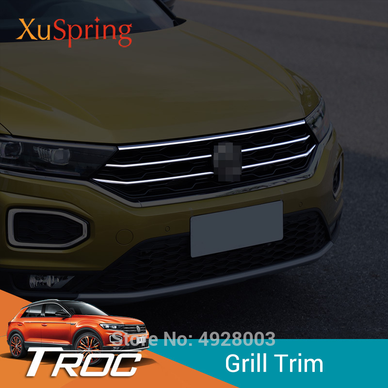 Car Front Hood Middle Billet Grille Mesh Horizontal Trim Styling Stickers Cover 5Pcs/Set For Volkswagen VW T-Roc 2017 2018 2019