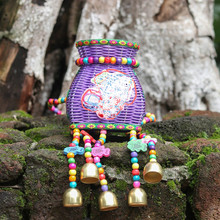 National  Small Female Backpack  Embroidery Shoulder Colorful Rattan Weaving Children's Basket Bell Bamboo Weaving Fish Basket