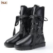 Winter Boots Lace-Up Sheepskin Black Waterproof Women Fur for Wool-Fur Lined Shoes INOE