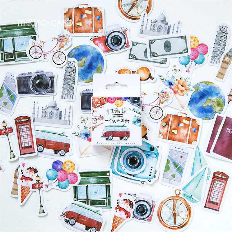 45 PCS/Kotak Alat Tulis Stiker Perjalanan Diy Planet Lengket Kertas Kawaii Hewan Pemandangan Dekorasi Stiker Diary Scrapbooking