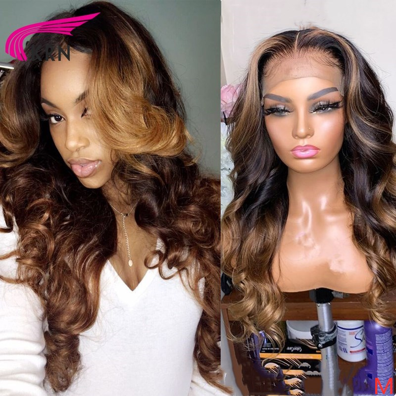 "KRN Body Wave 13x6 Lace Front Middle Ratio 8""-26"" Remy Human Hair Wigs Ombre Color Highlights Free Part With Baby Hair"