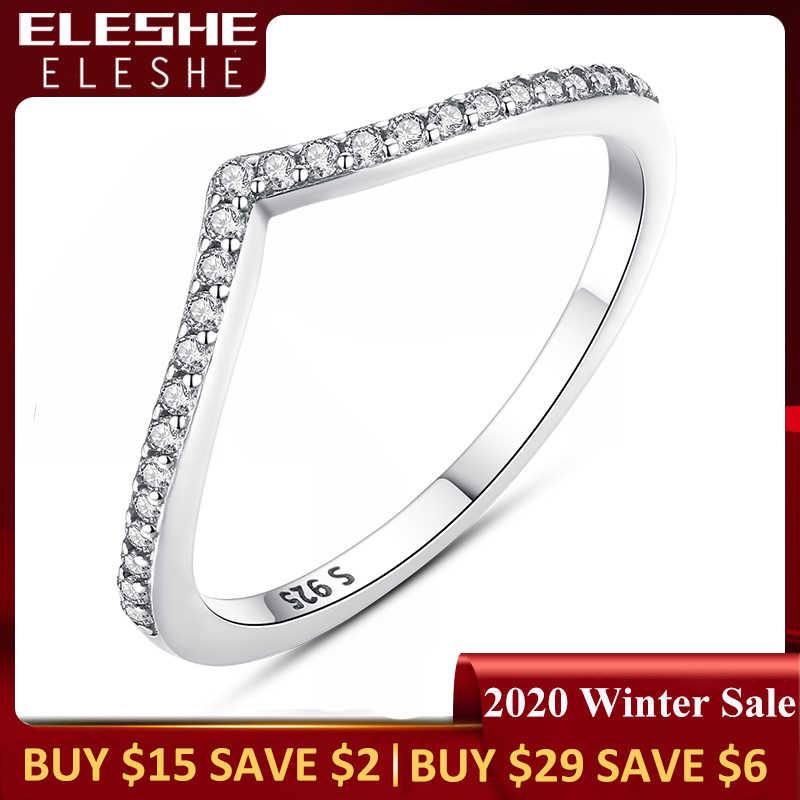 แท้ 925 เงินสเตอร์ลิง WAVE WISH แหวนซ้อนกันได้ Cubic Zirconia แหวนนิ้วมือสำหรับสุภาพสตรีงานแต่งงานแฟชั่นเครื่องประดับ