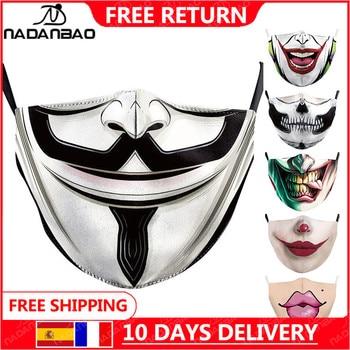 NADANBAO V For Vendetta Printed Masks  Washable Fabric Mask La casa de papel Skull Reusable Masks Fashion Face Cover