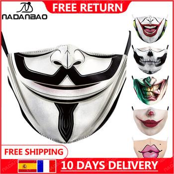 NADANBAO V dla Vendetta drukowane maski dla dorosłych zmywalna tkanina maska La casa de papel czaszka wielokrotnego użytku maski moda osłona na twarz tanie i dobre opinie Poliester NONE Chin kontynentalnych WOMEN Cartoon