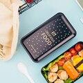 Переносная коробка для ланча двухслойная Bento коробка экологически чистый контейнер для еды с отсеками герметичный Microwavable Bpa бесплатно