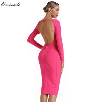 Ocstrade Sexy Long Sleeves Party Dresses 2019 New Fashion Summer Hot Pink Bandage Dress Women Celebrity Backless Bodycon