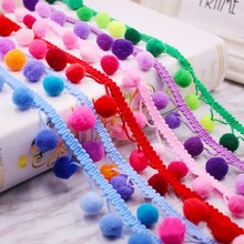 1yard Bohemian Lace Pompom hair ball Trim  Ribbon Colorful Round Ball Tassel Beads Pendant Collars DIY Accessories H