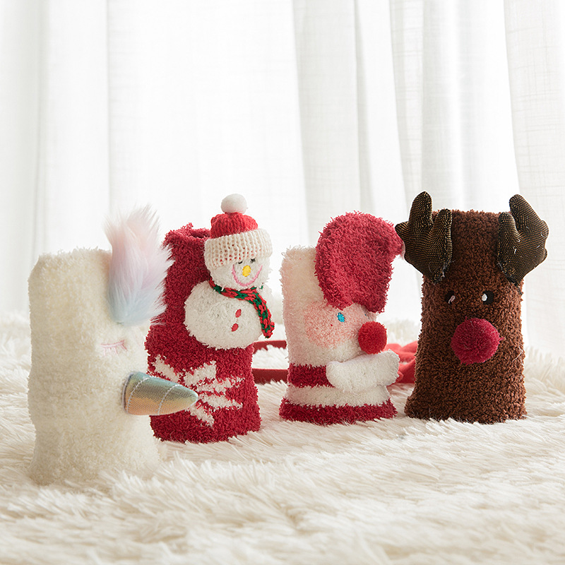 OLE Buy 4 Get 1 Coral Fleece Christmas Gift Box носки  Cartoon Straight Parent-child Calzini