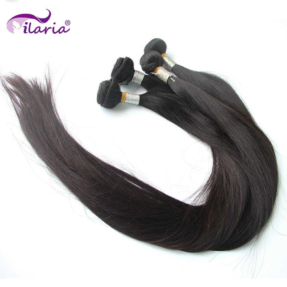 Ilaria 30 32 34 36 38 inç 40 inç demetleri % 100% İnsan brezilyalı saç örgü demetleri uzun bakire saç atkı 1/3/4 adet doğal renk