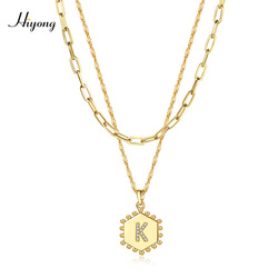HIYONG A-Z Initial Letter Pendant Necklace Double Layered 26 Letters Necklace Hexagon Alphabet Necklaces Set Women Girls Jewelry