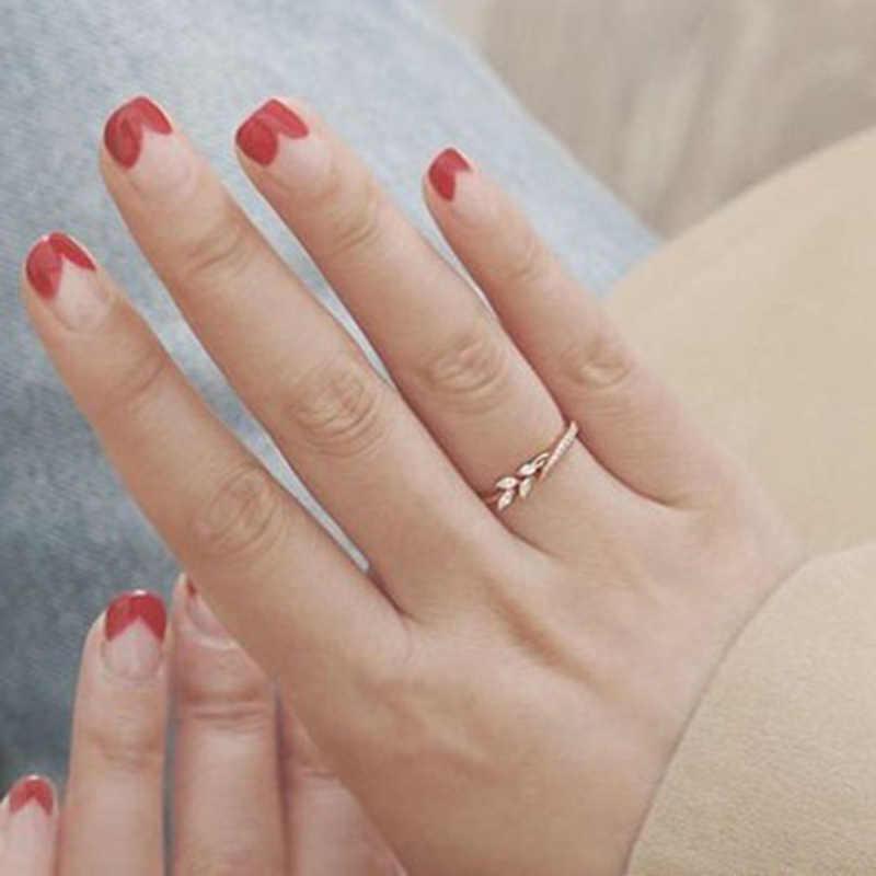 חדש עלה קריסטל אירוסין טבעות נשים של טבעת לנקבה עלה זהב כסף טבעות תכשיטי גודל 5 6 7 8 8 10