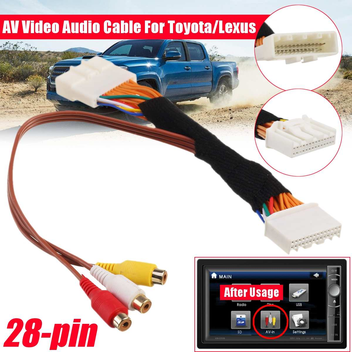 <font><b>28</b></font> Pin AV Video Audio Cable For Toyota/Lexus Touch 2 and Entune OEM Monitors Head Units For Renault&Dacia for Opel for Vauxhall image
