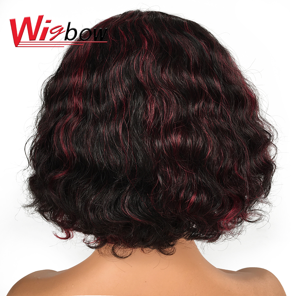 Human Hair Cheap Short Hair Bang Wigs Deep Wave 150 Density Black Women Human Hair Wig #30 Red 1b99j Colorful Wigs Free Shipping