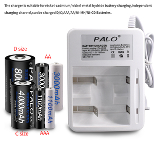 Image 2 - Palo Smart Indicatore Display A LED C D AA AAA Battery Charger Per 1.2V NiCd NiMh AA AAA C D batteria ricaricabile caricabatterie Rapido