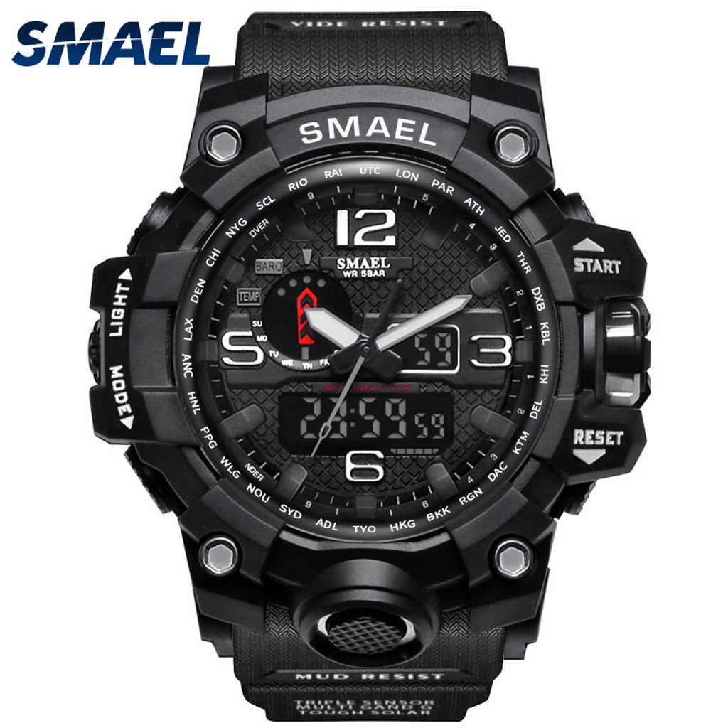 SMAEL Brand Waterproof Men Sport Watch Dual Display Analog Digital LED Electronic Wrist Watches 2020 Hot Sale Relogio Masculino