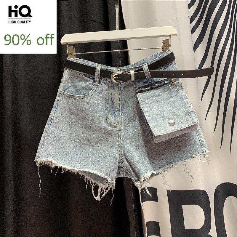 European Style Denim Shorts Women New Summer 2020 Personality Pocket Zipper Slim High Waist Shorts College Jean Short Mujer