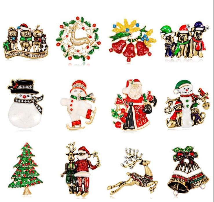 20 teile/los Freies Verschiffen frauen Frohe Weihnachten Weihnachten Santa Claus & Hirsch mit Strass Ornament Brosche Pin - 3