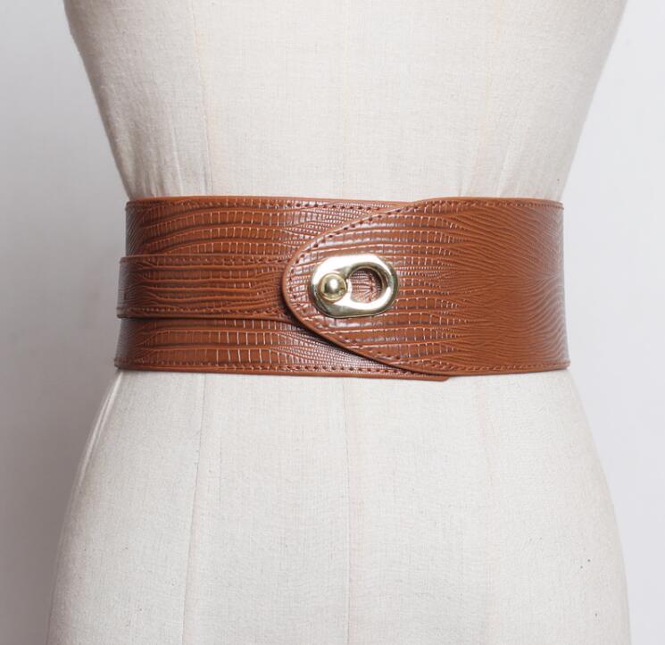 Women's Runway Fashion Pu Leather Elastic Cummerbunds Female Dress Corsets Waistband Belts Decoration Wide Belt R2554
