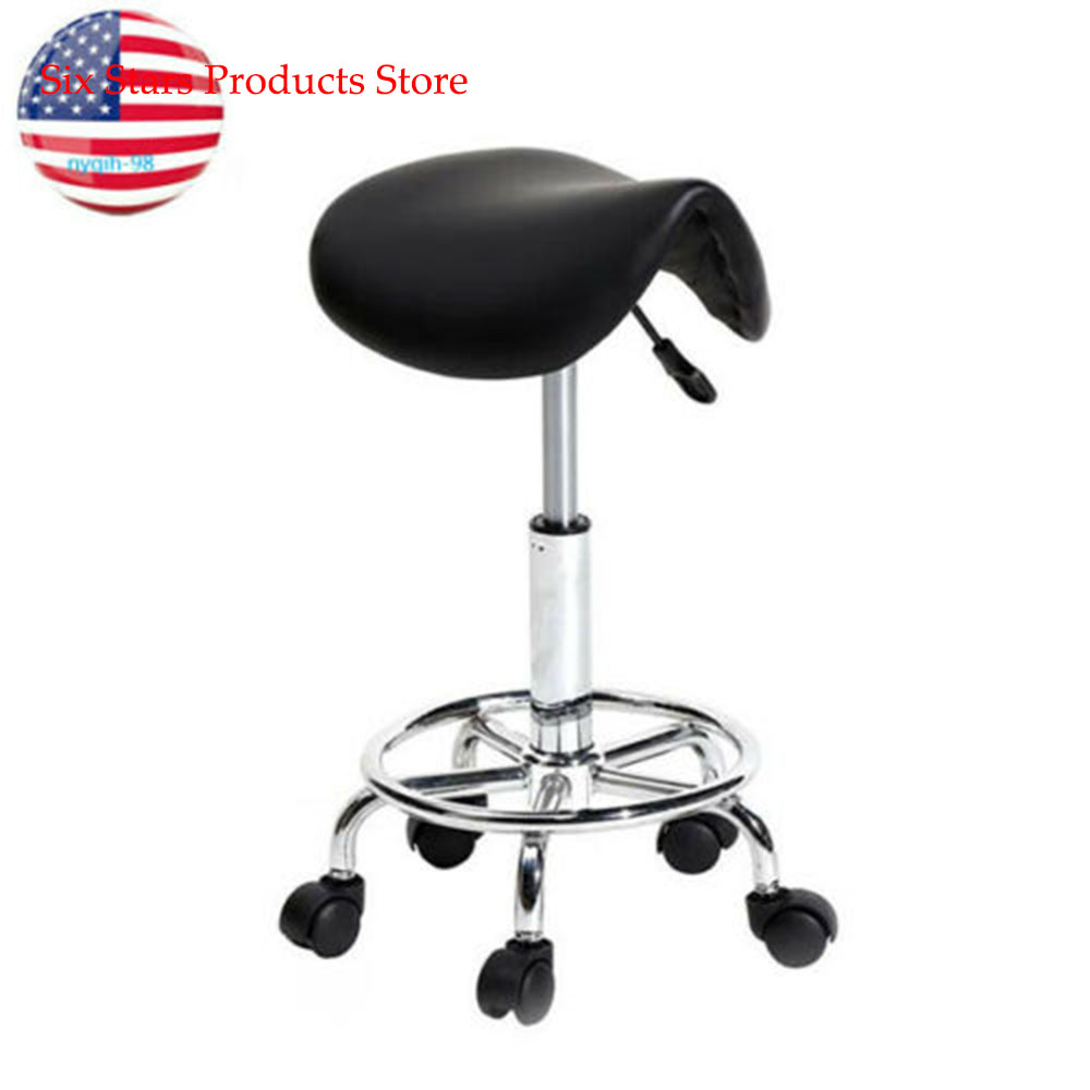Adjustable Saddle Stool Beauty Salon Massage Dental Office Rolling Swivel Chair