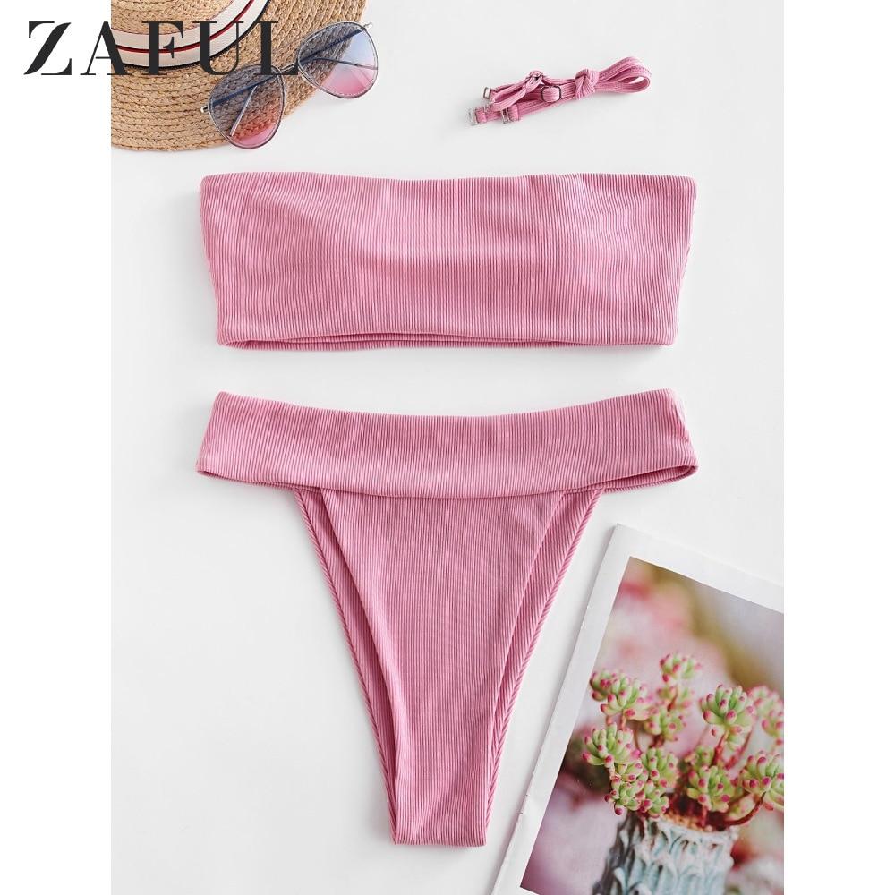 ZAFUL Bikini Women Ribbed High Leg Bandeau Bikini Swimsuit High Cut Strapless High Waisted Swimwear Vacation Solid Bikinis Set