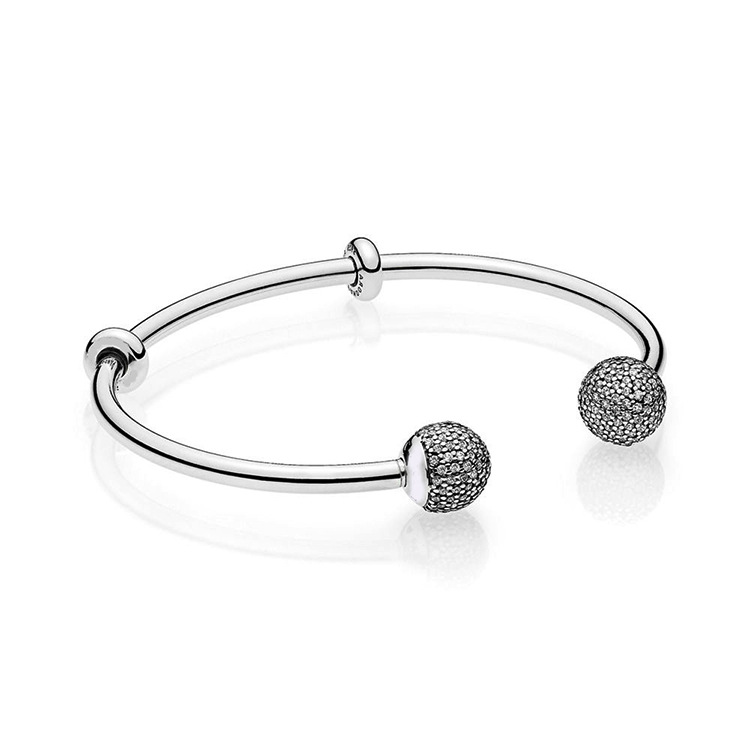 Original 925 Sterling Silver Beads Bracelet Snake Chain Fit Pandora MOMENTS Silver Open Bangle With Pave Caps Bracelet Charms