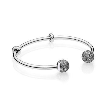 Original 925 Sterling Silver Beads Bracelet Snake Chain Fit pandora MOMENTS Open Bangle with Pave Caps Charms
