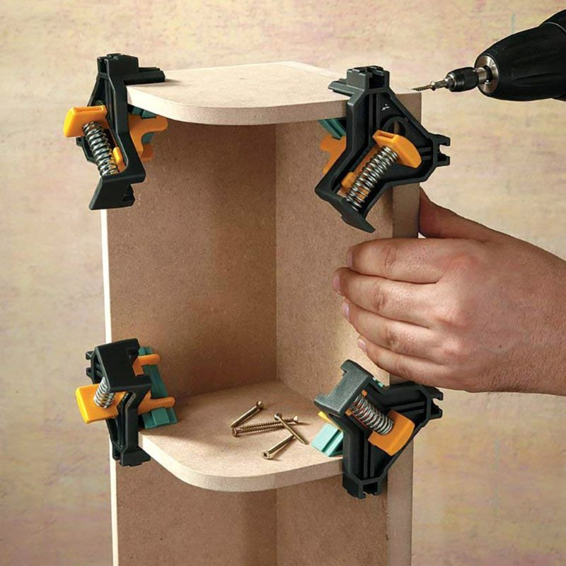 4pc 90 Degree Right Angle Clamp Fixing Clips Woodworking Hand Tool Locator Corner Clip Positioning Fixture Tool Auto-adjustable