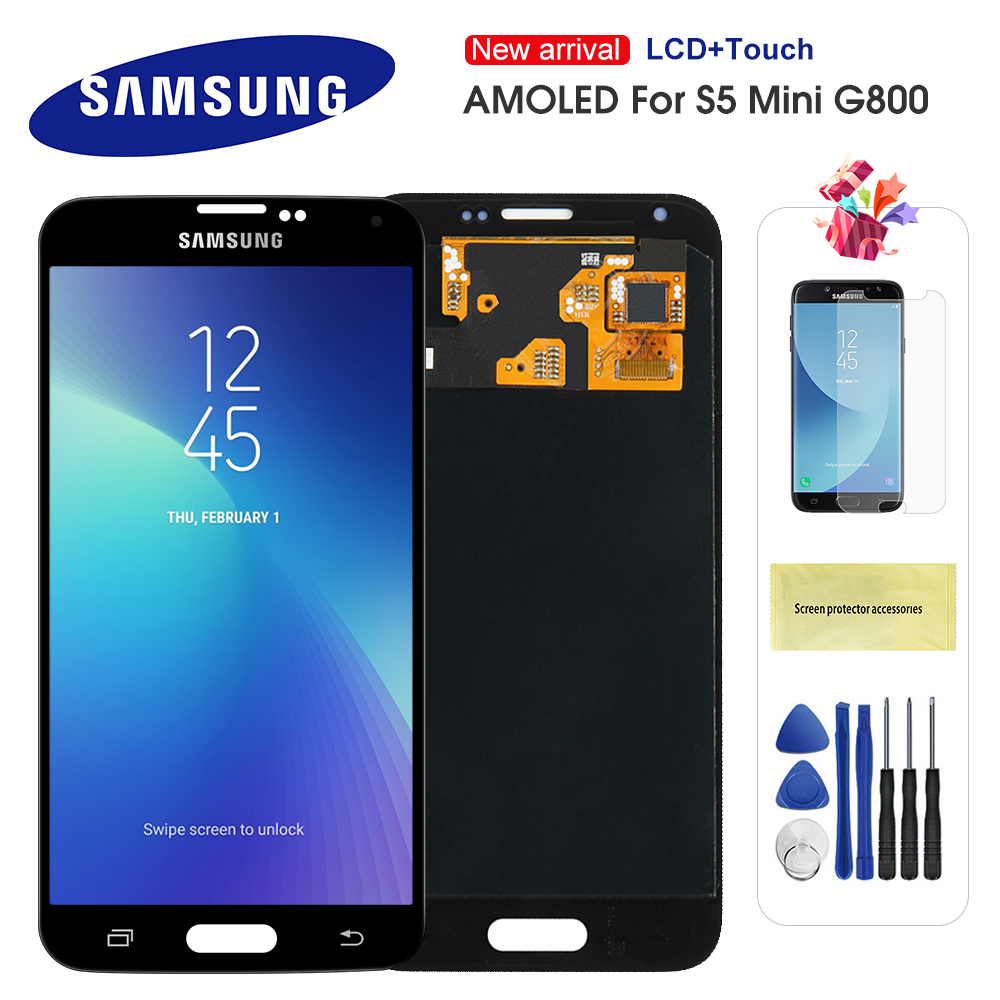 Super AMOLED Original LCD For <font><b>Samsung</b></font> Galaxy S5 Mini G800 <font><b>G800F</b></font> G800H LCD <font><b>Display</b></font> Screen Touch Digitizer Assembly Replacement image