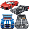 City super sport car block racer figures Dodge Challenger Nissans gtr r34 Lykan Ford Mustang gt500 brick racing vehicle toy