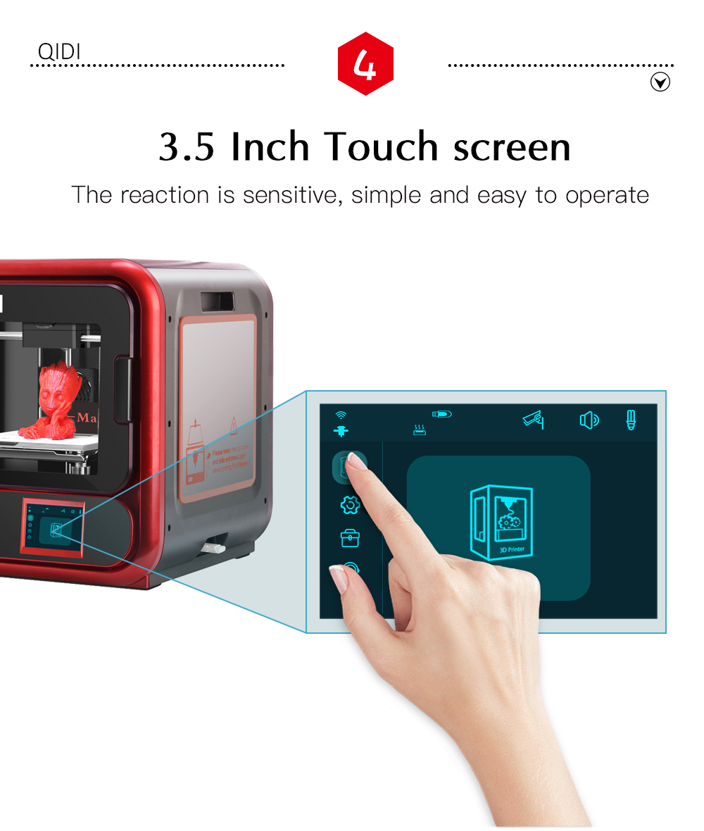 QIDI TECH X-Maker 3D Printer with Camera Wifi Touch Screen Single Nozzle Printing 12