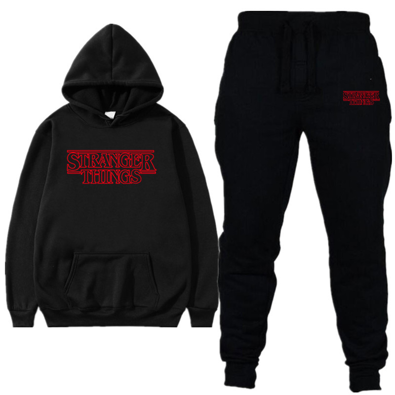 Autumn Winter Men Two Pieces Set New Stranger Things Hooded Sweatshirts Sportswear Tracksuit Men Hoodie  Hoodies + Pants Sets