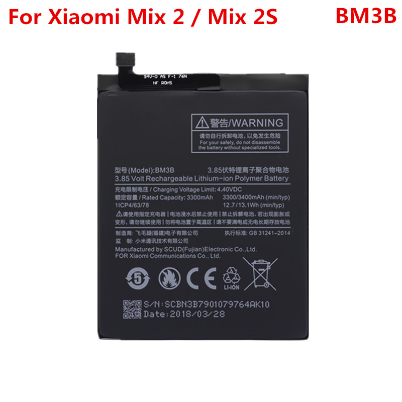 MIX2S Real <font><b>Battery</b></font> For XIAOMI <font><b>Mi</b></font> <font><b>Mix</b></font> 2 / <font><b>Mix</b></font> <font><b>2S</b></font> BM3B 3300mAh Replacement 3.85V Lithium-ion Polymer <font><b>Battery</b></font> Repair Part image