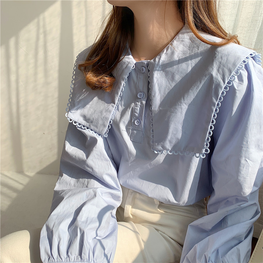 Hc79ba9fe271b4cb6a94578fa927f010fe - Spring / Autumn Puritan collar Long Sleeves Solid Blouse