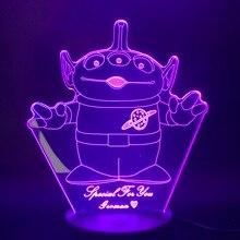 Lampe LED 3d à l'effigie des personnages de dessins animés Disney toy Story, en acrylique, luminaire décoratif d'intérieur, idéal pour une chambre à coucher ou comme cadeau