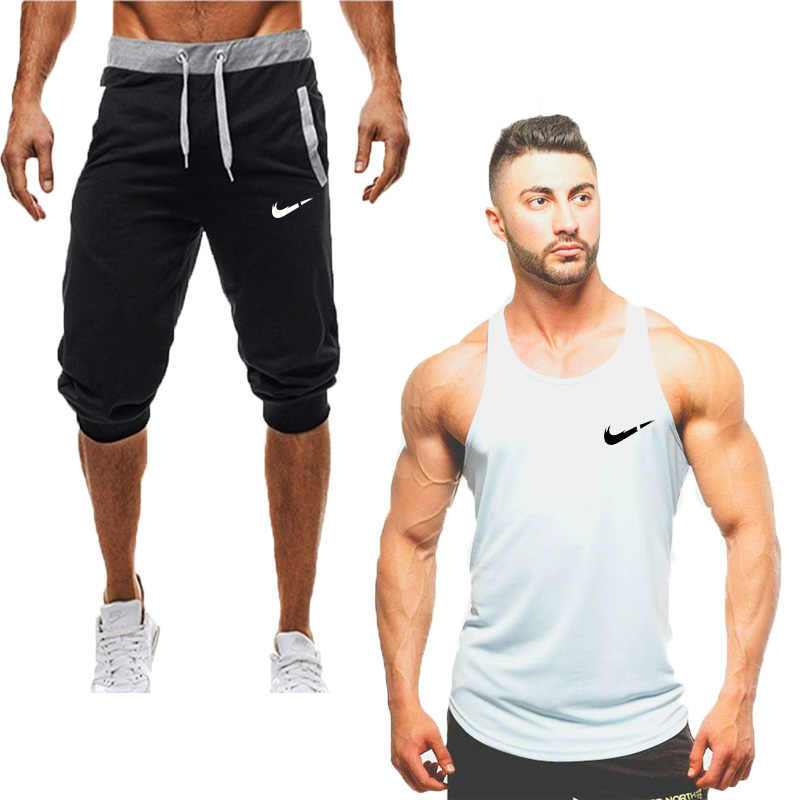 Vest Tracksuits Clothing Shorts-Sets Fitness Printed Casual Cotton Summer Brand New Tops