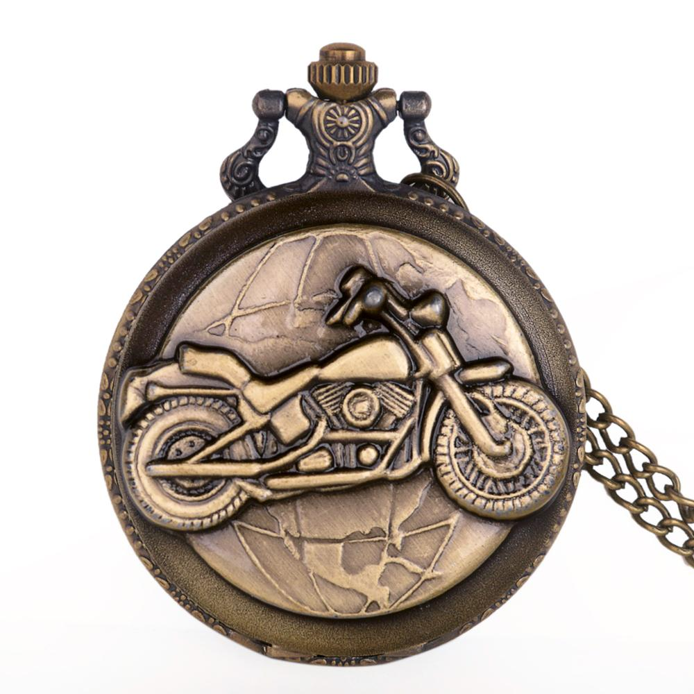 Bronze Motorcycle Pocket Watch Necklace Pendant Chain Vintage Motorbike MOTO Quartz Pocket Watch Unisex Gifts Relogio De Bolso