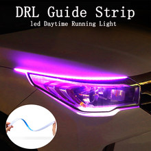 Tira de luz led ultra fina para coche, luces diurnas drl, intermitente, blanco, rojo, amarillo, resistência al agua, 30 45 60cm