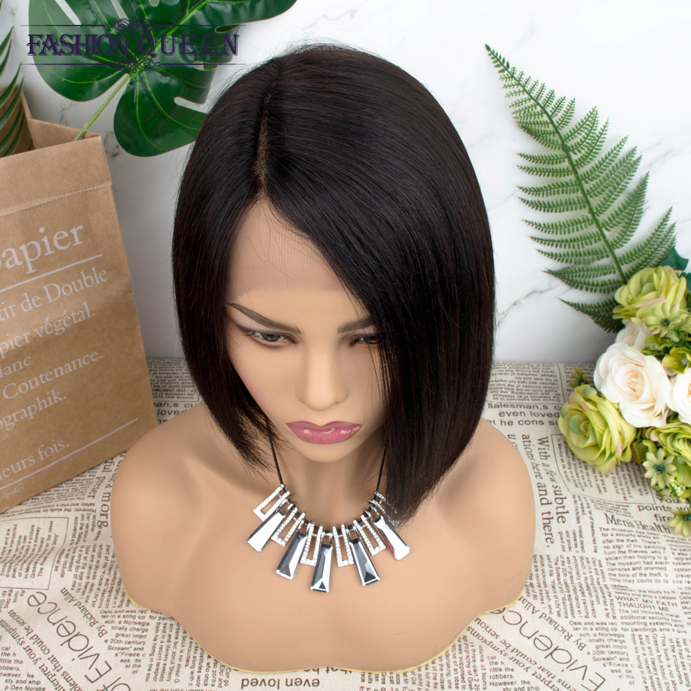 Brazilian Human Hair Wigs L-part Straight Hair Wigs For Women Non-remy Natural Color Hair Wig With Baby Hair Fashion Queen
